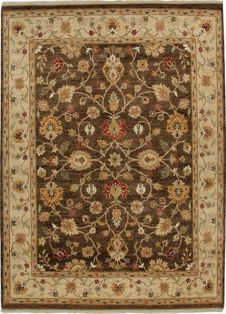 knotted pattern wool brown area rug traditional area rugs by aster
