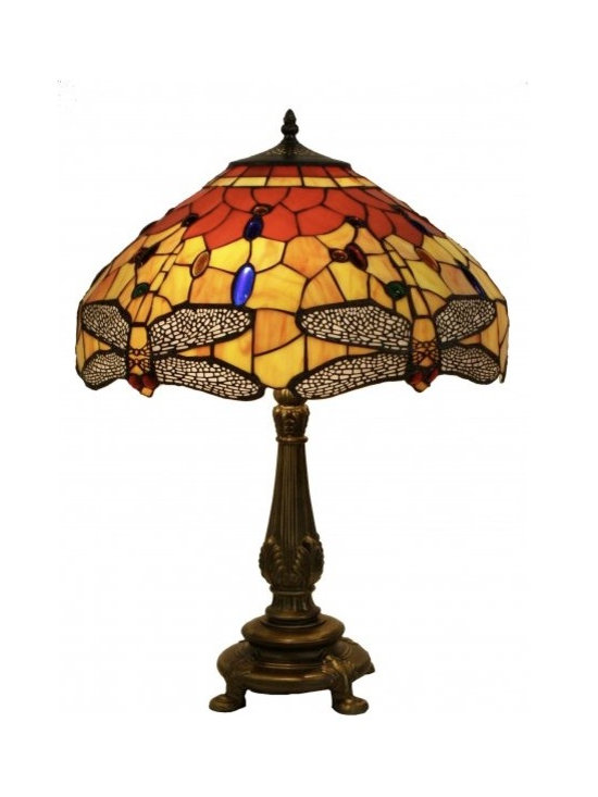 Chichi Furniture Exclusives. - A beautifully handmade lamp in one of the most popular Tiffany styles ever produced. All our lamps are made using pieces of stained glass that are foiled and hand soldered to create a stunning lampshade with that distinctive mosaic style.