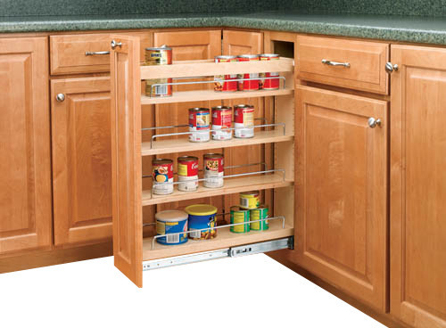 "Rev-A-Shelf 448-BC-5C 5"" Pullout Base Cabinet Organizer w/ Adjustable Shelves - Contemporary ..."