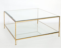 Worlds Away Square Coffee Table with Beveled Glass - Hammered Gold Leaf traditional-coffee-tables