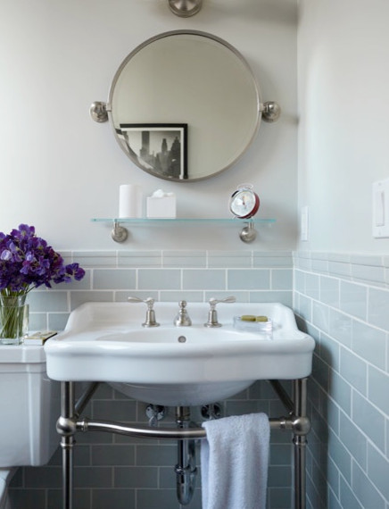pale blue bathroom featuring waterworks product featured on traditional other
