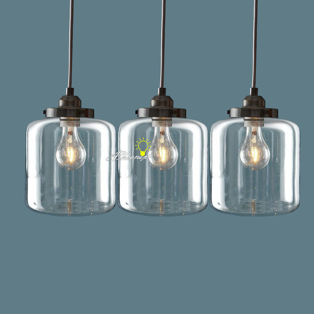 Modern 3 Clear Glass Bottles Pendant Lighting in Brushed Finish Farmhouse
