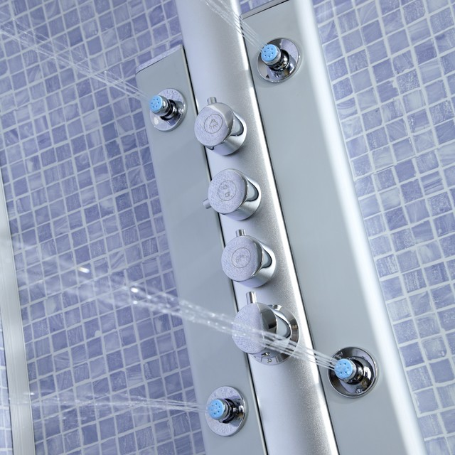 Thermostatic shower panel tower system with 6 body jet for Body spray shower systems