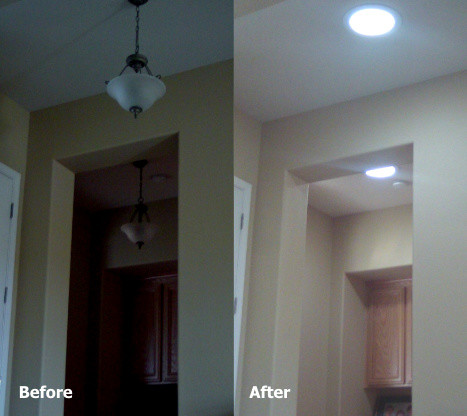 Sun Glo solar tubes before and after traditional
