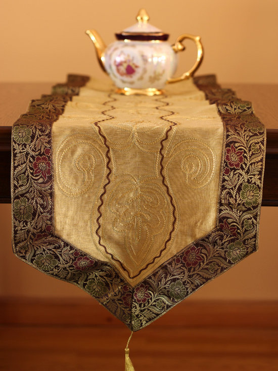"""Elegant Table Runners - Decorative table runner. Crafted by hand in India. Exclusive from Banarsi Designs Collection. """"Harmonic Gold"""" color."""