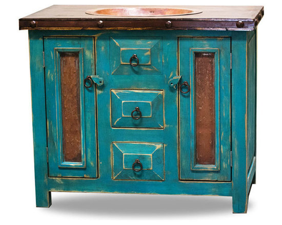 Rustic Vanity with Drop in Sink, 48x20x36 - This rustic vanity is a great addition to any bathroom! The metal panels in the doors make a very rustic, yet elegant appearance. The drop in sink is hammered copper and compliments the colors in the metal panels.