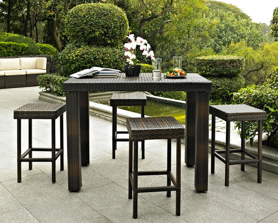 Crosley - Crosley Palm Harbor 5 Piece Outdoor Wicker High Dining Set -