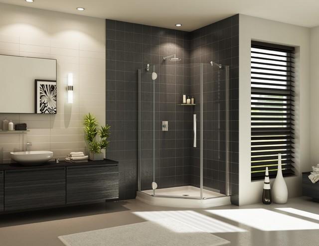NEO angle frameless shower door and acrylic base system contemporary-bathroom
