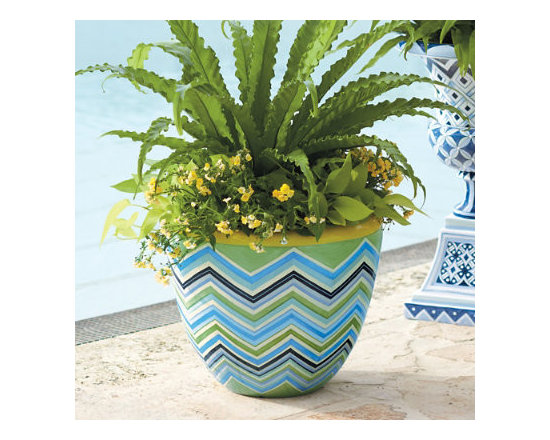 Grandin Road - Sadie Zig Zag Planter - Elegant and lightweight fiberglass and resin planter. Hand painted for the look of glazed ceramic. Finished with a chip- and peel-resistant topcoat. Best if displayed in a covered area to maintain original sheen. Boost your home's curb appeal with a classic planter transformed by a blue, white, and green hand-painted motif. Each has all the allure of glazed ceramic, only it's made of lightweight resin and fiberglass.  .  .  .  .