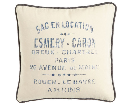 """French Laundry Home - Cream Canvas Pillow with French Words in Blue 20""""Sq. - CREAM - French Laundry HomeCream Canvas Pillow with French Words in Blue 20""""Sq.Designer About French Laundry Home:French Laundry Home introduced by designer Debbie Jones in 2007 is a collection of bedding tabletop linens tabletop accessories and furniture that is evocative of vintage French textiles and furnishings. Every item in the collection is crafted in the United States by local artisans and craftsmen in North Carolina."""
