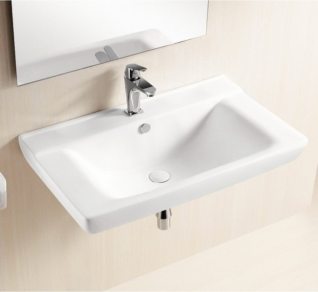 shallow rectangular wall mounted ceramic bathroom sink