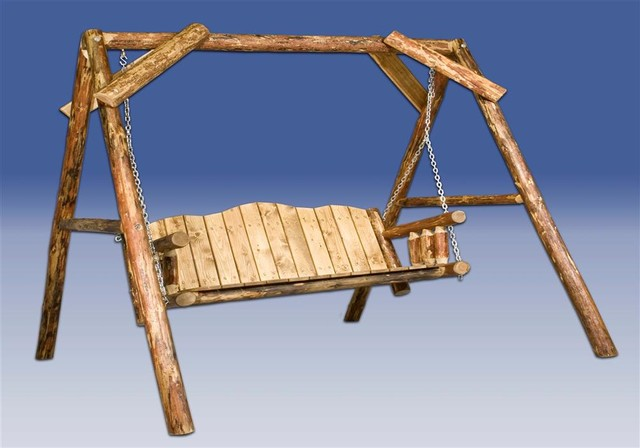 Glacier Country Log Lawn Swing W A Shaped Fra Rustic
