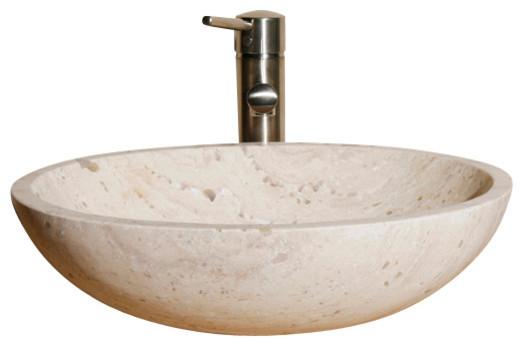 V-VO18 White Sands Honed Vessel Sink traditional-bathroom-sinks