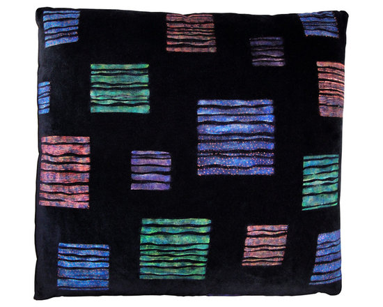 Modern Squares Designer Pillow - High-end Custom and Ready made pillows available on-line. One-of-a-KInd Contemporary Pillow by Carol Tate ~ Artisanaworks. Discharge Printed and Hand Dyed Surface Design. Down and Feather Insert.  Couture Custom Workroom Services Available. Artisanaworks