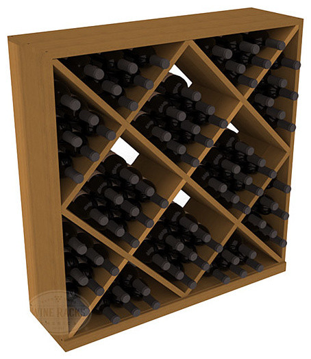 Solid Diamond Wine Storage Cube in Redwood with Oak Stain contemporary-wine-racks