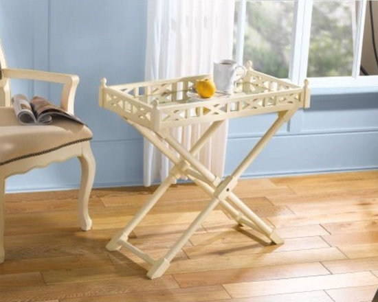 Antique White Finish Wood Tray Fretwork Side Table -