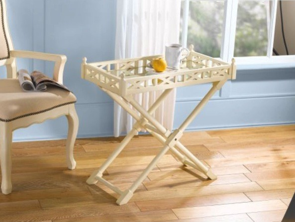 Antique White Finish Wood Tray Fretwork Side Table