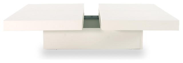 Kyoto Opening 4 Tops, High Gloss White modern-coffee-tables