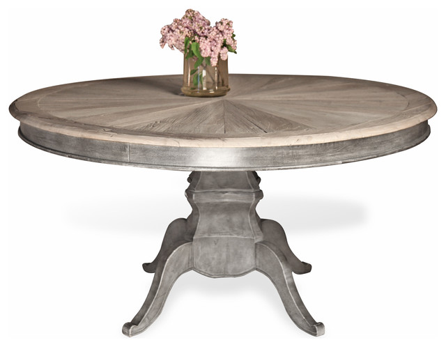 Reve french country reclaimed elm wood dining table for French round dining table
