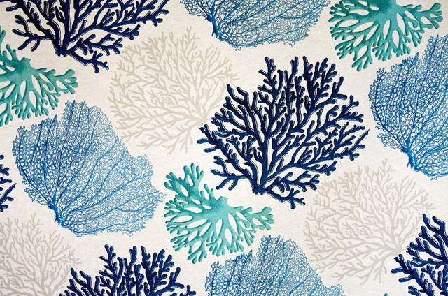 Blue Coral Fabric Aqua Ocean Beach Style Fabric