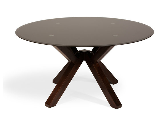 Bryght - Clifford Brown Glass Light Cappuccino Dining Table - The Clifford round glass dining table, with its striking dynamic design, is sure to add a stunning twist to your home decor. Its beautifully constructed clean-carved legs aesthetically meet at a focal point serving to enhance its modern looks.