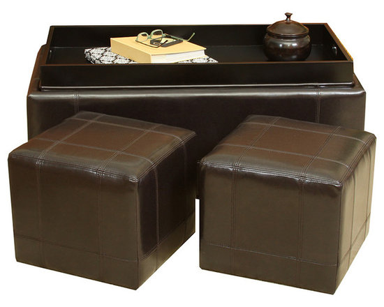 Great Deal Furniture - Five Brooks Espresso Leather Ottoman Set - When friends and family descend, it's nice keep your options open. Simply open the top of this leather ottoman and take out the two smaller ones to use as impromptu seats. Toss the messy details of everyday living into the interior space then turn the lid over to create a tray top coffee table. Done. Now all you need are the munchies.