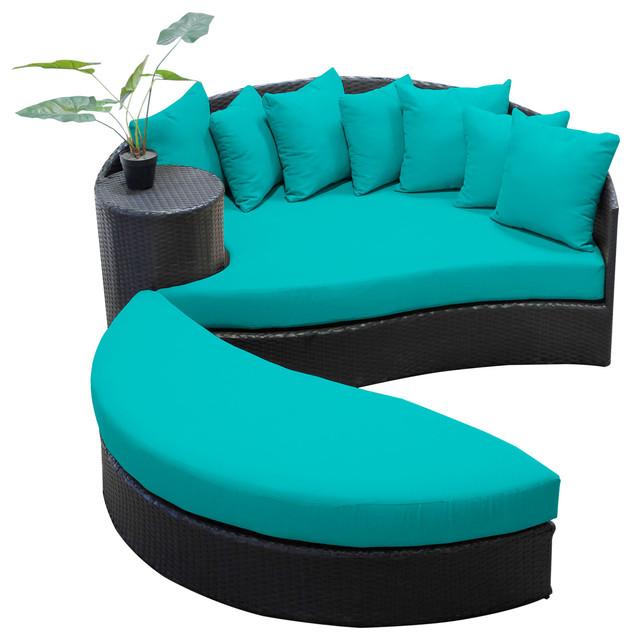 Zen Circular Sun Bed Outdoor Wicker Patio Furniture 2 For