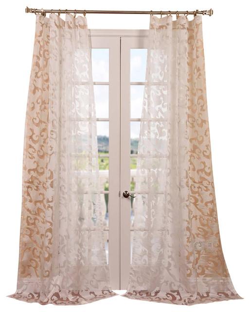 Alesandra patterned sheer curtain contemporary for Patterned sheer curtain panels