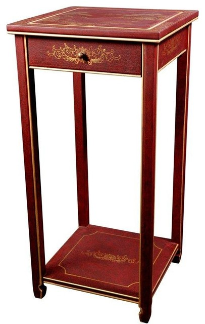 Oriental pedestal red landscape traditional for Japanese bedside table