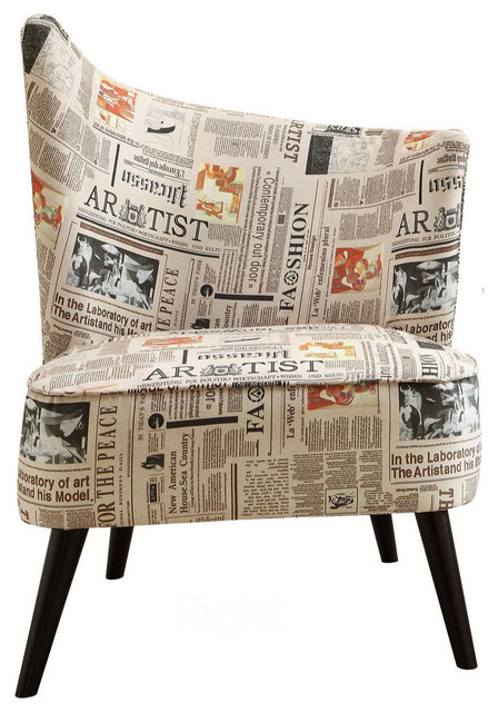 Elegant Accent Chair with Right Flared Back in Newspaper Fabric contemporary-armchairs-and-accent-chairs