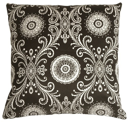 Pillow Decor - Filigree Black 17 x 17 Throw Pillow contemporary-decorative-pillows