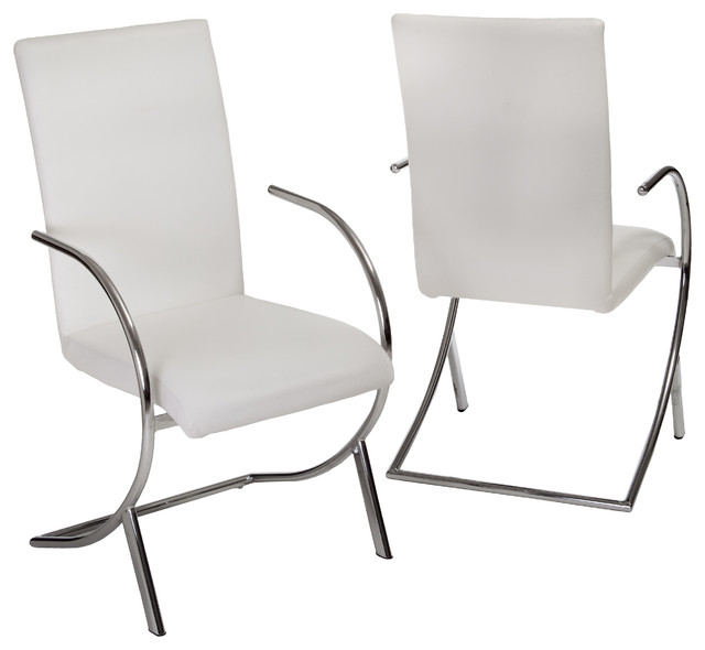 Prima white leather side chairs set of 2 modern for Modern white leather dining chairs