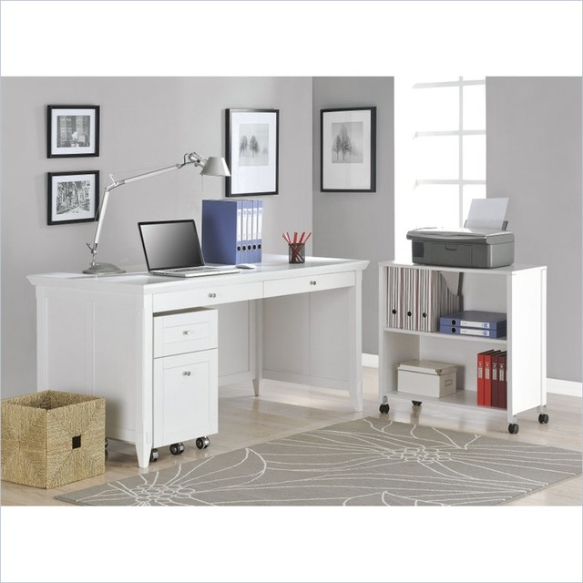 Altra Furniture Amelia Desk with Mobile Storage Cube and File in White Finish - Contemporary ...