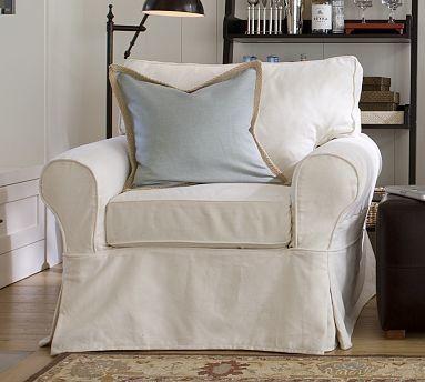 PB Basic Slipcovered Armchair Slipcover, Box, Performance ...