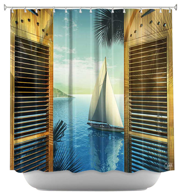 shower curtain artistic set sail beach style shower curtains by