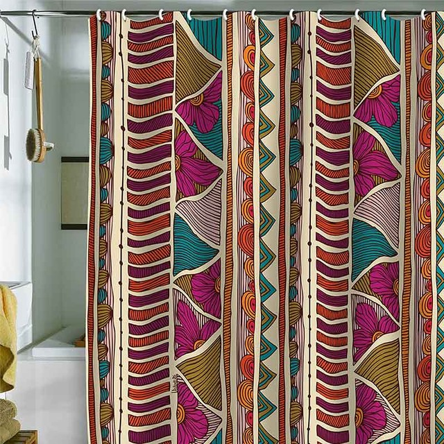 DENY Designs Valentina Ramos Ethnic Stripes Shower Curtain eclectic-shower-curtains