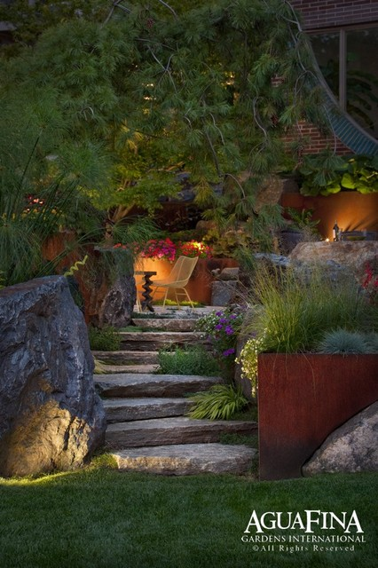 Steel and stone retaining walll modern landscape