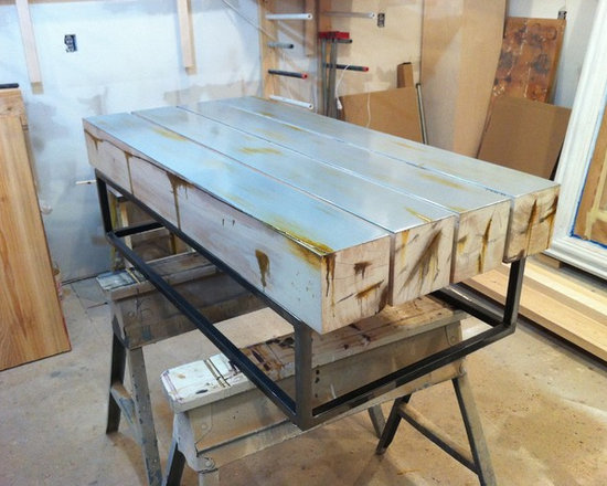 Past Projects - Wood Coffee table on Metal Base