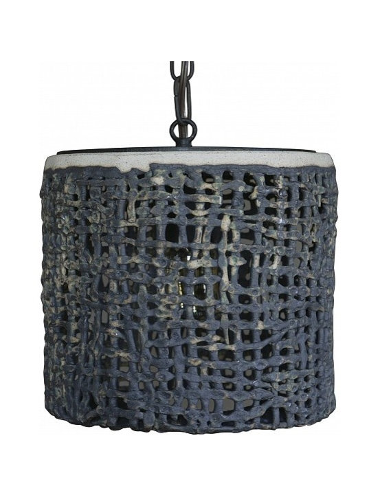 Hanging Basket Weave Wide Pendant by Clate Grunden - Individually unique handbuilt glazed stoneware form in an open basket weave pattern. Shown in a matte verdigris glaze on a white clay body. Includes old iron chain and canopy. Other finishes available