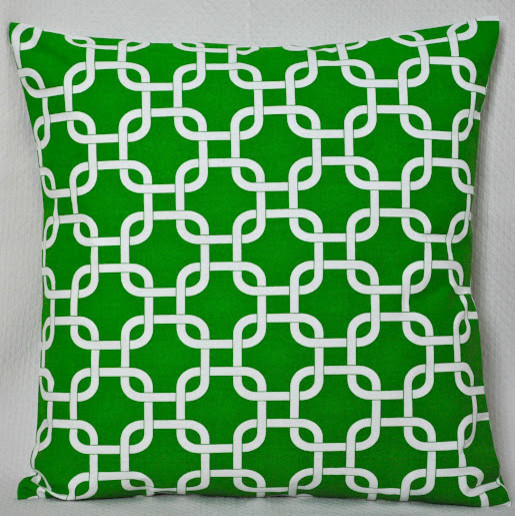 Green & White Lattice Indoor/Outdoor Pillow by Bird & Branch Redesign contemporary pillows