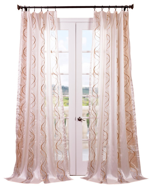 camille taupe gold embroidered sheer curtain