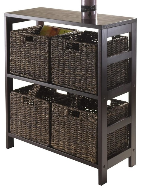 Open Storage Unit with 4 Baskets Contemporary Accent