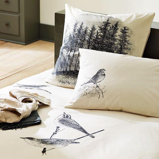 Vintage Bird Duvet Cover + Shams - Modern - Bedding - by West Elm