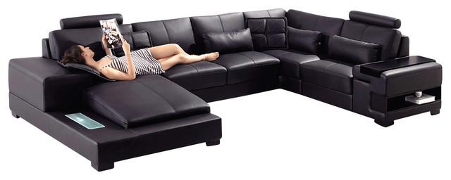 Diamond Black Top Grain Leather Sectional Sofa With Built