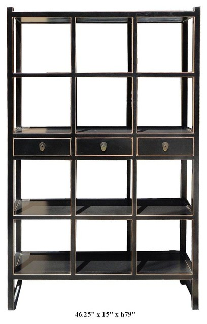 Chinese Solid Elm Wood Black Lacquer Display Cabinet contemporary-storage-units-and-cabinets
