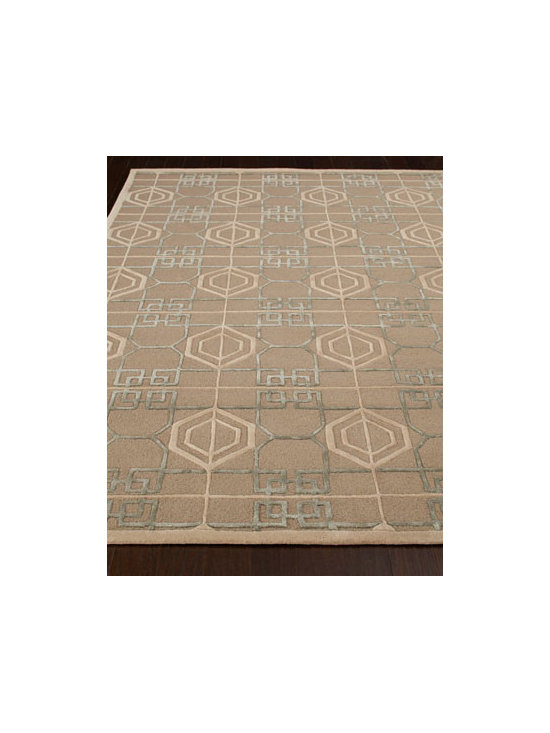 "Thom Filicia - Thom Filicia ""Kiowa"" Rug - The essence of classic simplicity, this intriguing rug features a grid of geometric designs in contrasting light and dark hues for a look that is modern and contemporary. Hand tufted of wool and viscose. Cotton backing. Sizes are approximate. Imported. See our Rug Guide for tips on how to m"