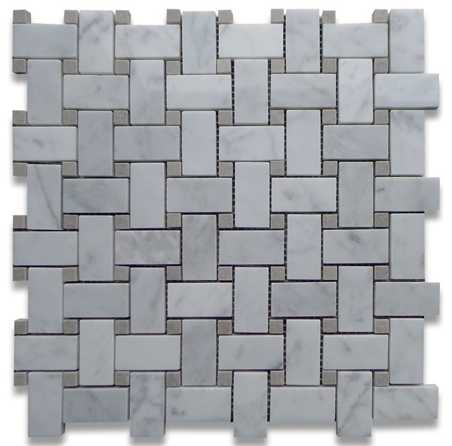 Carrara Marble Basketweave Mosaic Tile Gray Dots 1x2