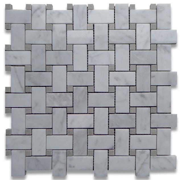 Carrara Marble Basketweave Mosaic Tile Gray Dots 1x2