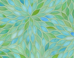 Beau Monde Glass, Blossom, Aquamarine contemporary-tile