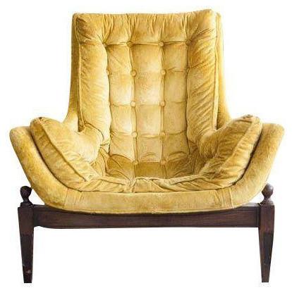 Mid Century Yellow Velvet Tufted Bucket Chair Midcentury